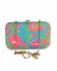 Turquoise Blue Clutch with Floral Embroidery