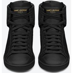 Saint Laurent Signature Sl/01H Court Classic High Top Sneakers ($505) ❤ liked on Polyvore featuring shoes, sneakers, black, black hi tops, yves saint laurent, high top shoes, hi tops and high top sneakers