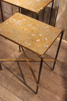 A Pair of Maison Jansen Style Bronze Sofa Tables with inset Fossil Marble Tops