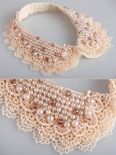 pearl beaded lacy wave detachable collar