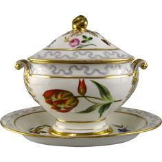 Porcelain Sauce Tureen with Attached Underplate 19th C Hand Painted Flowers Dresden Style #Rubylane www.rubylane.com