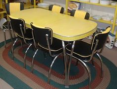 black and yellow vintage table and chairs