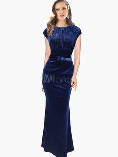 Floor-length Jewel Neck Sash Sleeveless Mermaid Maxi Dress