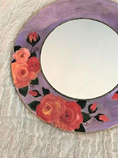 Shabby Chic Country Mirror, Decorative Round Mirror, Small Bedroom Floral Mirror, Rose Boho Wall Decor, bohemian mirror, hand painted Shabby Chic Table Lamps, Shabby Chic Wall Decor, Bohemian Decor, Boho Chic, Mirror Painting, Boho Room, Round Mirrors, Cottage Chic, Diy Home Decor
