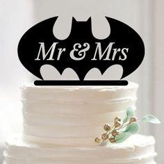 "Batman Superhero Wedding Cake Topper ""Mr and Mrs"""