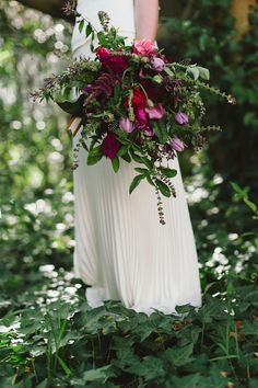 """[This is lovely . I wouldn't have expected to like something so """"loose"""" and with this ratio of green to color but it works really well] Purple & ruby floral bouquet Garnet Wedding, Purple Wedding, Floral Wedding, Rustic Wedding, Winter Wedding Flowers, Bridal Flowers, Winter Weddings, Autumn Flowers, Floral Bouquets"""
