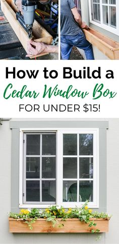 How to build and install simple DIY cedar window boxes in a few hours. A cedar window planter box is the prefect way to spruce up the front of your home! Hanging Window Boxes, Cedar Window Boxes, Window Box Plants, Window Box Flowers, Window Planter Boxes, Planter Ideas, Window Box Diy, Shed Windows, Cottage Windows
