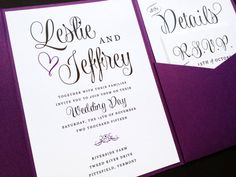 Wedding Invitation - Wedding Wishes Signature Pocketfold Wedding Invitation Suite - Wedding Invite - Pocket Fold Wedding Invitation via Etsy  I love the the fun and flirty font!