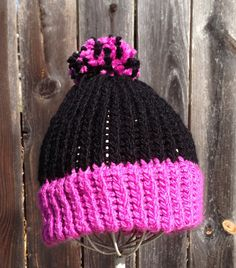 Black and pink beanie