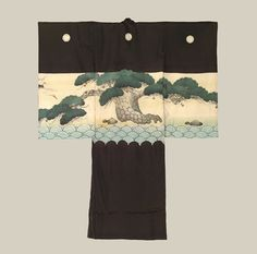 Boys Ceremonial Kimono, Early to Mid-Meiji (1868-1900). A fine silk antique miyamairi kimono, one utilized to drape over a one-month old baby boy during rite of passage at a Shinto Shrine.  The auspicious and imposing pine tree motif represents the wish that the boy have a long life characterized by strength and endurance. The Kimono Gallery