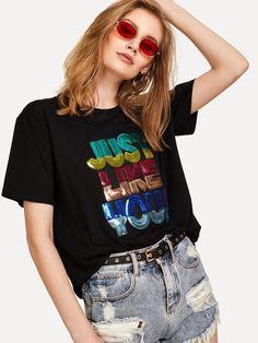 T-shirt decorata con paillettes-Italian SheIn(Sheinside)