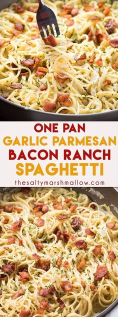 One Pan Bacon Ranch Garlic Parmesan Pasta is an easy and. One Pan Bacon Ranch Garlic Parmesan Pasta is an easy and satisfying one pot pasta meal that the whole family will love. A quick weeknight dinner recipe that is ready in 30 minutes or less! Yummy Recipes, Cooking Recipes, Yummy Food, Healthy Recipes, Bacon Dinner Recipes, Recipies, Salad Recipes, Bacon Pasta Recipes, Bacon Meals