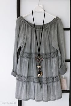 Tunic with lace trim vintage gray