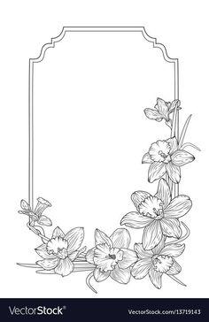 Narcissus daffodils spring floral border frame vector image on VectorStock Frame Border Design, Boarder Designs, Page Borders Design, Frise Art, Floral Frames, Drawing Borders, Narcissus Flower, Art Nouveau Pattern, Cartoon Flowers