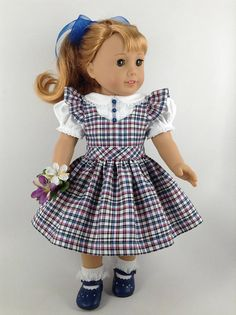 1940's-1950's Plaid Jumper & Blouse for American Girl 18-inch Doll, HFDoll $46.00