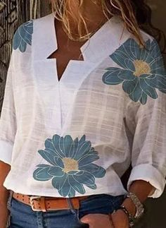 Blouse Online, Blouse Styles, Latest Fashion Trends, Blouses For Women, Long Sleeve Shirts, Ideias Fashion, Womens Fashion, Outfits, Clothes
