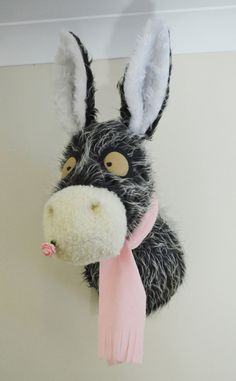 Petal the faux taxidermy donkey head, trophy head, fabric donkey head, donkey wall hanging, unique room decoration by Knitwangling on Etsy