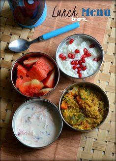 Lunch Box menu (South Indian) -Sambar Sadam, Mixed veg raita, Curd rice and Watermelon  http://www.upala.net/2016/07/lunch-box-menu-south-indian-sambar.html