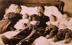 On October 12, 1906, Carrie Parsons, his wife and three children were murdered by Joseph Hamilton near Success, MO. On the day of the murder, the family had loaded their wagon with their household effects and were moving to Miller, MO. In the middle of the afternoon Hamilton ambushed them and hid the wagon in the woods until he could return that night. He was caught 2 days later. The bodies of the Parsons family were returned to their home in Success, where they were photographed on the bed.
