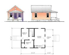 katrina cottage house plans   Plans not to scale. Drawings are artistic renderings and may not ...