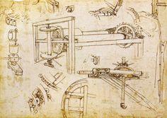 Description Leonardo da vinci, argano a tre velocità di Brunelleschi ...