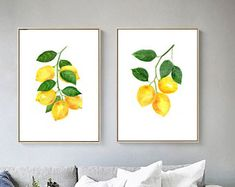Set of 2 Lemon print of watercolour paintings, lemons painting, botanical fruit painting illustration, yellow green home decor art prints Lemon Painting, Fruit Painting, Lemon Kitchen Decor, Kitchen Art, Hall Bathroom, Bathroom Inspo, Nursery Decor, Bedroom Decor, Bathroom Decor Pictures