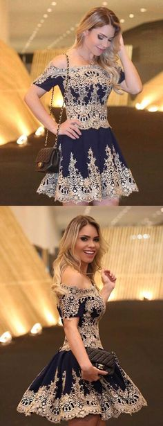 off the shoulder homecoming dresses with sleeves,short golden lace prom dresses,short sleeves lace homecoming dresses,chic party dresses short,fashion dresses for prom