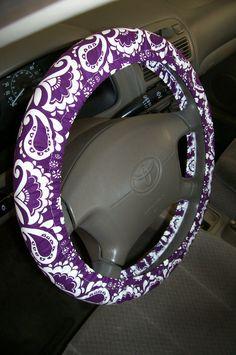 Purple Floral Steering Wheel Cover by EmbellishMePattyV on Etsy, $10.00