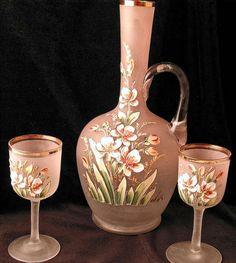 Enameled Glass Decanter Set Mont Joye Daum Baccarat Bohemian Era Enameled