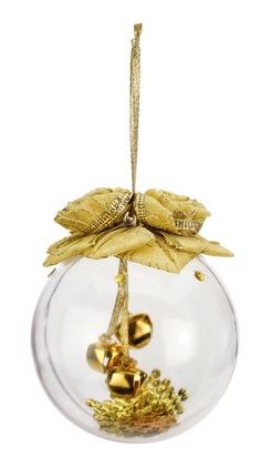 Nicole™ Crafts Gold Ribbon and Bells Ball Ornament #ornaments #craft #christmas