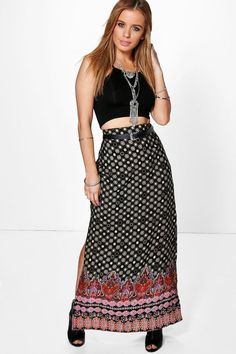 Roxy Boarder Print Maxi Skirt black