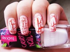 Nails Art Mania (crackle nail art-red, white)