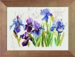 Triptych Blue Flowers - Irisses