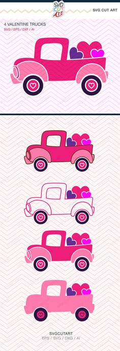 Valentine Truck Hearts DXF SVG EPS farm tractor by SvgCutArt