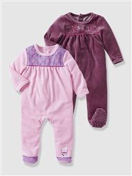 Pack of 2 Baby's Velour Sleepsuits http://www.parentideal.co.uk/vertbaudet---baby-girls-clothing.html