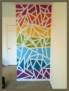 Awesome Accent Wall Ideas Can You Try at Home Fun and easy way to get some color on an accent wall. Frog tape and paint samples.Fun and easy way to get some color on an accent wall. Frog tape and paint samples. Diy Wall, Wall Decor, Bedroom Decor, Wall Murals, Wall Art, Paint Samples, Paint Designs, Painting Wall Designs, Home Accents