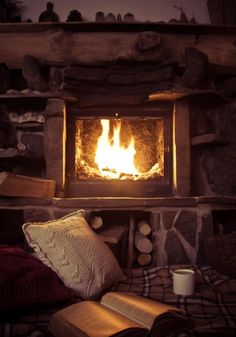 cosy and quiet except for the crackle of the fire….