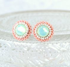 mint peach coral ivory stud earrings _ exquisiteartistry on esty.com $39.00