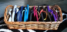Organize your flip flops instead of having them all over your closet--square basket.....I have been doing it for years and still works great