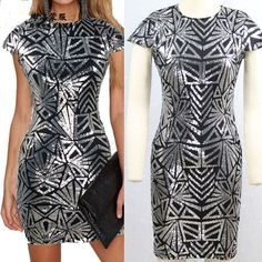 Available in Large Sizes Women XXXL Plus Size Rose Gold Geometric Pattern Sequin Bodycon Dress Womens Sexy Dresses Party Night Club Dress