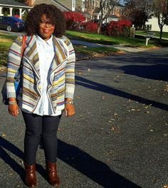 Vivi from Heart, Print & Style wearing Marled Striped Cardigan.