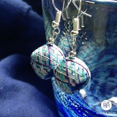 "Handmade ""Kaga Yubinuki"" jewellery. Summer earrings made with Japanese silk threads."