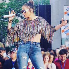 Jennifer Lopez wearing a Thai Nguyen top while rehearsing for her performance with Lin-Manuel Miranda of #LoveMakesTheWorldGoRound on The Today Show. Styled by #RandM.