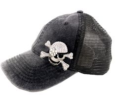 2abc1669137 Put fun into your day. Crystal skull   crossbones embellished Trucker Hat.  Only 1