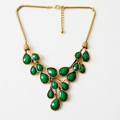 Vine Dew Drop Bib Statement Necklace in Emerald/Azure/Berry