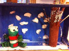 Afbeeldingsresultaat voor kikker in de kou Crafts For Kids, Arts And Crafts, Winter Project, Winter Kids, School Fun, School Ideas, Winter Theme, Diorama, Painting