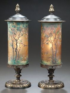 Pair of Handel teroma painted glass and patinated brass lamps, Circa painted to shade: HANDEL Bedigig Antique Light Fixtures, Antique Lamps, Antique Lighting, Rustic Lighting, Interior Lighting, Antique Art, Antique Brass, Chandelier Lamp, Chandeliers