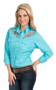 Panhandle Women's Solid Turquoise with Embroidery Western Shirt | Cavender's