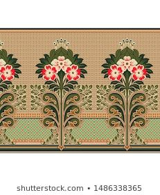 digital textile design border and texture Art Nouveau Pattern, Pattern Art, Pattern Design, Peacock Embroidery Designs, Border Embroidery Designs, Textiles, Textile Prints, Art And Craft, Floral Artwork