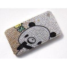 Cute Cartoon Panda Bear Fashion iPhone 4S 4 Case Cover Swarovski Crystal Element
